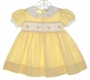"""<img src=""""https://p11.secure.hostingprod.com/@grammies-attic.com/ssl/images/blue-sold-1.gif""""> Carriage Boutiques Yellow Dotted Dress with Smocking and Embroidered Ducks"""