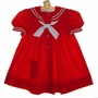 "<img src=""https://p11.secure.hostingprod.com/@grammies-attic.com/ssl/images/blue-sold-1.gif""> Classic Baby Girl's, Toddlers, and Little Girls Red Sailor Dress with White Tie"
