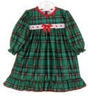 NEW Green Plaid Gown with White Eyelet Trim For Babies, Toddlers, Little Girls and Big Girls