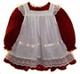 "<img src=""https://p11.secure.hostingprod.com/@grammies-attic.com/ssl/images/blue-sold-1.gif""> Custom Made Burgundy Print Dress with White Lace Trimmed Pinafore"