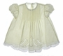 """<img src=""""https://p11.secure.hostingprod.com/@grammies-attic.com/ssl/images/blue-sold-1.gif""""> Feltman Brothers Pale Yellow Batiste Dress with Pintucks and Lace Insertion"""