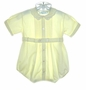 """<img src=""""https://p11.secure.hostingprod.com/@grammies-attic.com/ssl/images/blue-sold-1.gif""""> Feltman Brothers Pale Yellow Romper with Pintucks and Embroidered Collar"""