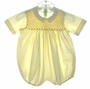 """<img src=""""https://p11.secure.hostingprod.com/@grammies-attic.com/ssl/images/blue-sold-1.gif""""> Feltman Brothers Pale Yellow Smocked Romper with Fagoted Collar"""