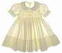 """<img src=""""https://p11.secure.hostingprod.com/@grammies-attic.com/ssl/images/blue-sold-1.gif""""> Feltman Brothers Pale Yellow Smocked Toddler Dress with Lace Trimmed Collar"""