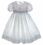 """<img src=""""https://p11.secure.hostingprod.com/@grammies-attic.com/ssl/images/blue-sold-1.gif""""> Feltman-Brothers White Flowered Smocked Dress for Toddlers and Little Girls"""