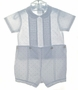 """<img src=""""https://p11.secure.hostingprod.com/@grammies-attic.com/ssl/images/blue-sold-1.gif""""> Feltman Brothers White Pintucked Button On Shorts Set with Tiny Blue Ducks"""