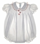 "<img src=""https://p11.secure.hostingprod.com/@grammies-attic.com/ssl/images/blue-sold-1.gif""> Vintage Feltman Brothers White Smocked Baby Bubble with Embroidered Cherries"