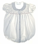 """<img src=""""https://p11.secure.hostingprod.com/@grammies-attic.com/ssl/images/blue-sold-1.gif""""> Feltman Brothers White Smocked Baby Bubble with Pink Embroidery"""