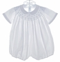 """<img src=""""https://p11.secure.hostingprod.com/@grammies-attic.com/ssl/images/blue-sold-1.gif""""> Feltman Brothers White Smocked Bubble with Blue Embroidery"""