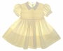 """<img src=""""https://p11.secure.hostingprod.com/@grammies-attic.com/ssl/images/blue-sold-1.gif""""> Feltman Brothers Yellow Smocked Baby Dress with Lace Trimmed Collar"""