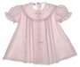 """<img src=""""https://p11.secure.hostingprod.com/@grammies-attic.com/ssl/images/blue-sold-1.gif""""> Garden of Angels Pink Pleated Baby Dress with Lace and Delicate Embroidery"""