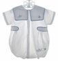 """<img src=""""https://p11.secure.hostingprod.com/@grammies-attic.com/ssl/images/blue-sold-1.gif""""> Garden Of Angels White Bubble with Blue Gingham Piping"""