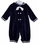 "<img src=""https://p11.secure.hostingprod.com/@grammies-attic.com/ssl/images/blue-sold-1.gif""> Good Lad Navy Velour Sailor Romper with White Satin Tie"