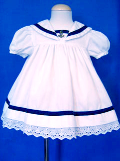 """<img src=""""https://p11.secure.hostingprod.com/@grammies-attic.com/ssl/images/blue-sold-1.gif""""> Good Lad White Sailor Dress with Anchor Insignia for Baby Girls"""