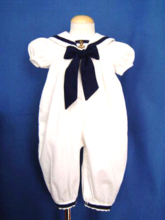"""<img src=""""https://p11.secure.hostingprod.com/@grammies-attic.com/ssl/images/blue-sold-1.gif""""> Good Lad White Sailor Long Bubble with Navy Bow for Baby Girls"""
