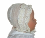 "<img src=""https://p11.secure.hostingprod.com/@grammies-attic.com/ssl/images/blue-sold-1.gif""> Heirloom 1880s Ivory Silk Crocheted Christening Bonnet with Silk Ribbons"
