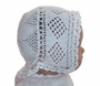 Heirloom 1890s White Cotton Crocheted Christening Bonnet with Diamond Pattern