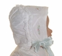 "<img src=""https://p11.secure.hostingprod.com/@grammies-attic.com/ssl/images/blue-sold-1.gif""> Heirloom 1920s Batiste Baby Bonnet with Pastel Embroidery and Pale Green Ribbons"