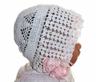 Heirloom 1920s Winter White Cotton Crocheted Christening Bonnet with Pink Silk Ribbons