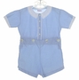 "<img src=""https://p11.secure.hostingprod.com/@grammies-attic.com/ssl/images/blue-sold-1.gif""> Heirloom 1940s Blue Button On Shorts Set with White Embroidered Collar"