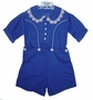 "<img src=""https://p11.secure.hostingprod.com/@grammies-attic.com/ssl/images/blue-sold-1.gif""> Heirloom 1930s Boys' Unworn Royal Blue Button On Shorts Set with Crocheted Edged Collar"