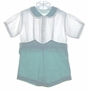 "<img src=""https://p11.secure.hostingprod.com/@grammies-attic.com/ssl/images/blue-sold-1.gif""> Heirloom 1930s Green and White Button On Shorts Set with Ruffled Collar"