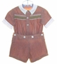 "<img src=""https://p11.secure.hostingprod.com/@grammies-attic.com/ssl/images/blue-sold-1.gif""> Heirloom 1940s Brown Button On Shorts Set with Green Smocking and White Collar"