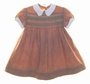 "<img src=""https://p11.secure.hostingprod.com/@grammies-attic.com/ssl/images/blue-sold-1.gif""> Heirloom 1940s Brown Dress with Green Smocking and White Collar"