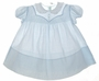 "<img src=""https://p11.secure.hostingprod.com/@grammies-attic.com/ssl/images/blue-sold-1.gif""> Heirloom 1940s Feltman Brothers Blue Batiste Baby Dress with Smocking and Lace Collar"