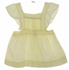 Heirloom 1940s Yellow Dotted Swiss Pinafore with Pastel Embroidery