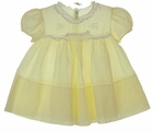 Heirloom 1950s Feltman Brothers Pale Yellow Dress with Lace and Embroidery