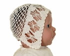 Heirloom 1920s Pale Ivory Cotton Crocheted Bonnet with Openwork Flowers