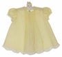 Heirloom Unworn Feltman Brothers Yellow Pintucked Dress with Lace Insertion and Embroidery