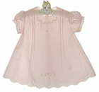 """<img src=""""https://p11.secure.hostingprod.com/@grammies-attic.com/ssl/images/blue-sold-1.gif""""> Heirloom Unworn Pink Pintucked dress with Delicate Rosebud Embroidery"""