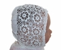 "<img src=""https://p11.secure.hostingprod.com/@grammies-attic.com/ssl/images/blue-sold-1.gif""> Heirloom Victorian Delicate White Cotton Crocheted Floral Patterned Christening Bonnet"