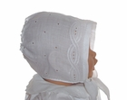 Heirloom Victorian White Broderie Anglais Bonnet with Hand Made Buttons