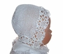 "<img src=""https://p11.secure.hostingprod.com/@grammies-attic.com/ssl/images/blue-sold-1.gif""> Heirloom Victorian White Crocheted Christening Bonnet with Pink Ribbon"