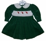 "<img src=""https://p11.secure.hostingprod.com/@grammies-attic.com/ssl/images/blue-sold-1.gif""> House of Hatten Green Corduroy Smocked Baby Dress with Santa Ornaments Embroidery"