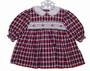 "<img src=""https://p11.secure.hostingprod.com/@grammies-attic.com/ssl/images/blue-sold-1.gif""> Jelly 'N Jam Red and Navy Plaid Smocked Baby Dress with Flower Embroidery"