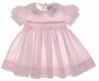 """<img src=""""https://p11.secure.hostingprod.com/@grammies-attic.com/ssl/images/blue-sold-1.gif""""> Little Diamonds Pale Pink Smocked Baby Dress with Eyelet Embroidered Collar"""
