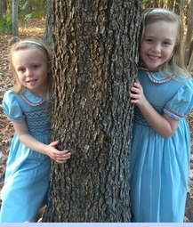 NEW Marco & Lizzy Aqua Blue Smocked Cotton Pincord Dress with Pleated Floral Trim (CC14114)