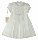 NEW Amacello Ivory Silk Dress and Matching Cloche Hat with Daisy Trim