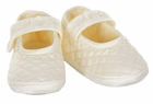 NEW Amacello Ivory Silk Quilted Mary Jane Shoes with Lace Trim and Organza Flowers
