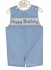"""NEW Anavini Blue Checked Shortall with """"Happy Birthday"""" Embroidery"""