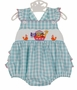 NEW Anavini Aqua Checked Smocked Sunsuit with Noah's Ark Embroidery