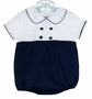 NEW Anavini Navy and White Cotton Pique Romper