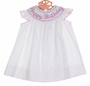 NEW Anavini Pastel Dotted Bishop Smocked Dress with Birthday Embroidery