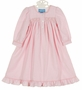 NEW Anavini Pink Checked Brushed Cotton Smocked Gown
