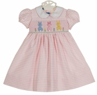 """<img src=""""https://p11.secure.hostingprod.com/@grammies-attic.com/ssl/images/blue-sold-1.gif""""> NEW Anavini Pink Checked Smocked Dress with Pastel Bunnies"""