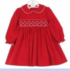 NEW Petit Bebe by Anavini Red Cotton Corduroy Smocked Dress